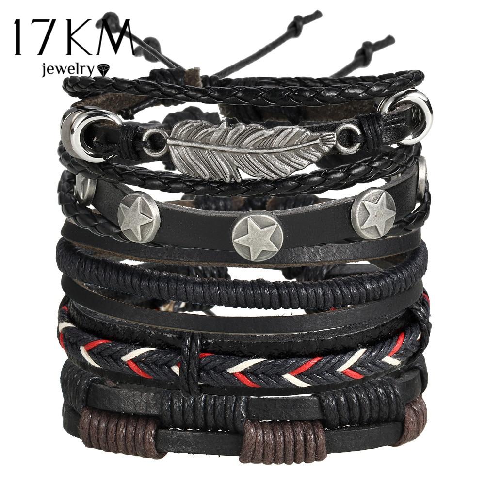 17KM Vintage wiele Charm zestaw bransoletek dla mężczyzn kobieta moda opaski sowa liść bransoletka skórzana bransoletki 2019 Party biżuteria 1