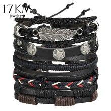 17KM Vintage múltiples conjunto de pulseras con amuleto para hombres de moda de mujer pulseras de cuero de hoja pulsera brazaletes 2019 joyería de fiesta
