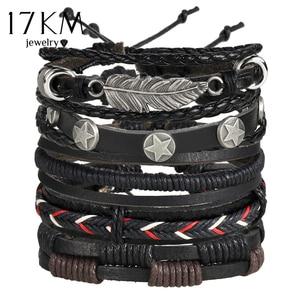 17KM Vintage Multiple Charm Bracelets Set For Men Woman Fashion Wristbands Owl Leaf Leather Bracelet Bangles 2019 Party Jewelry(China)