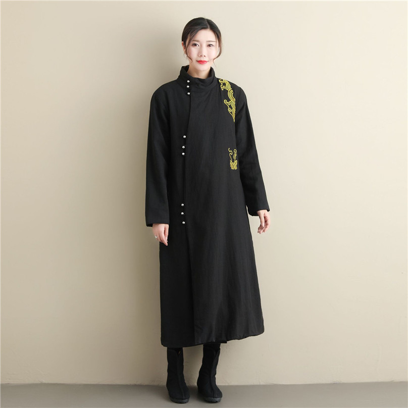 Winter Clothing silver buckled Ramie robe long gold thread embroidered cheongsam Robe sleeves thickened cotton padded cloth