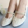 Vendaje blanco flor de la perla Nupcial/la Dama de honor Zapatos de Las Mujeres Zapatos de Boda Mujeres Bombas de gran tamaño 41-42 envío Gratis