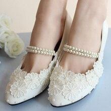 สีขาวผ้าพันแผลเพิร์ลดอกไม้เจ้าสาว/เพื่อนเจ้าสาวรองเท้ารองเท้าผู้หญิงรองเท้าแต่งงานผู้หญิงปั๊มขนาดใหญ่41-42