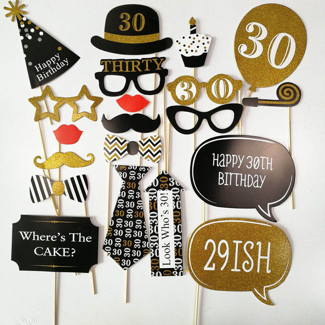 20pcs Set 30 40 50 60 Years Old Birthday Party Decorations Adult Photo Booth Props 30th 40th 50th Decor Supplies