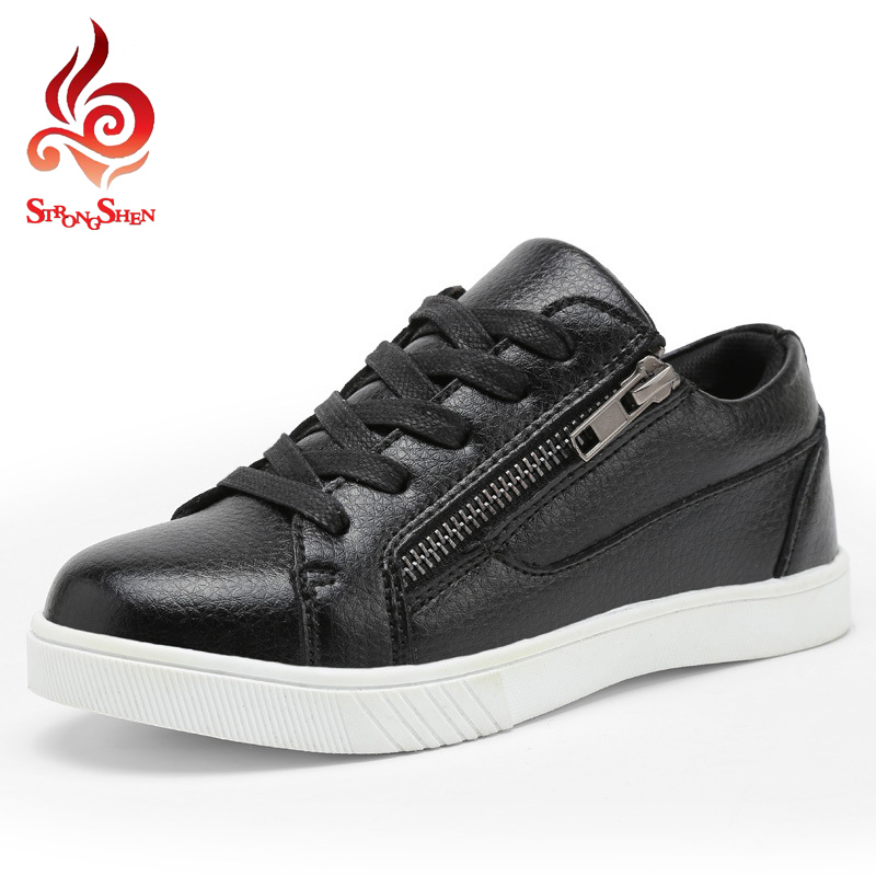 ФОТО 2016 new fashion children shoes casual flat leather solid zip design boys girls shoes outdoor leisure unisex shoes size 26-37