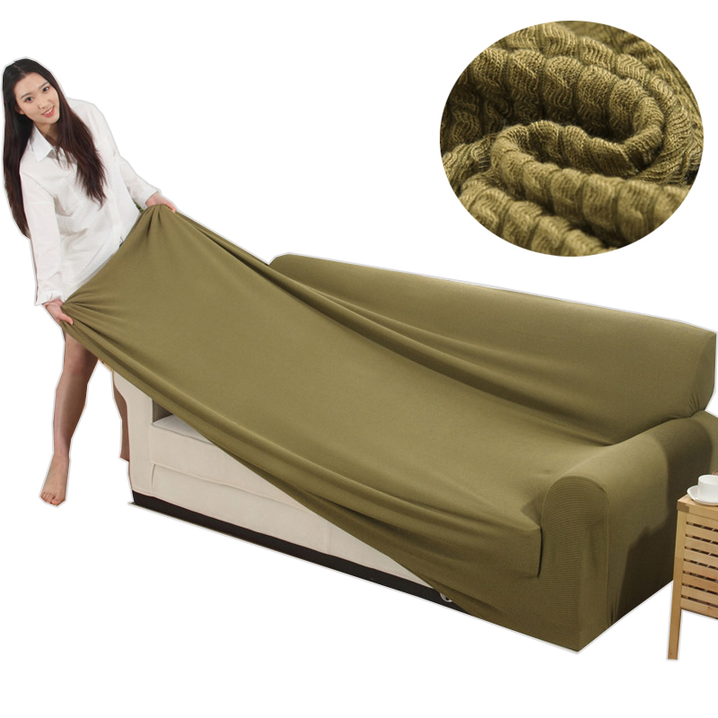 Svetanya Knitted Cotton Sofa Cover Slipcovers all-inclusive Couch Case for different Shape Sofa High Quanlity Solid Color