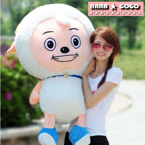 huge 100cm lovely sheep plush toy cartoon pleasant goat doll throw pillow, birthday present ,Christmas gift w5499 lovely giant panda about 70cm plush toy t shirt dress panda doll soft throw pillow christmas birthday gift x023