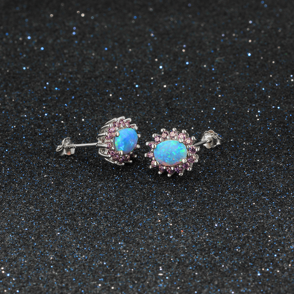 real silver stud sterling style earrings gemstone opal white xny vintage victorian