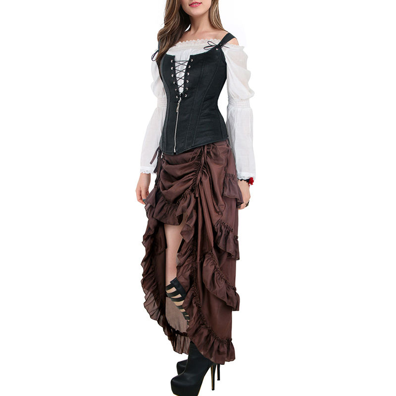 Women's Plus Size Victorian Gothic Steampunk Midi Skirt Sexy High-Low Ruffles Vintage Elasticity Pleated Corset Party Skirts
