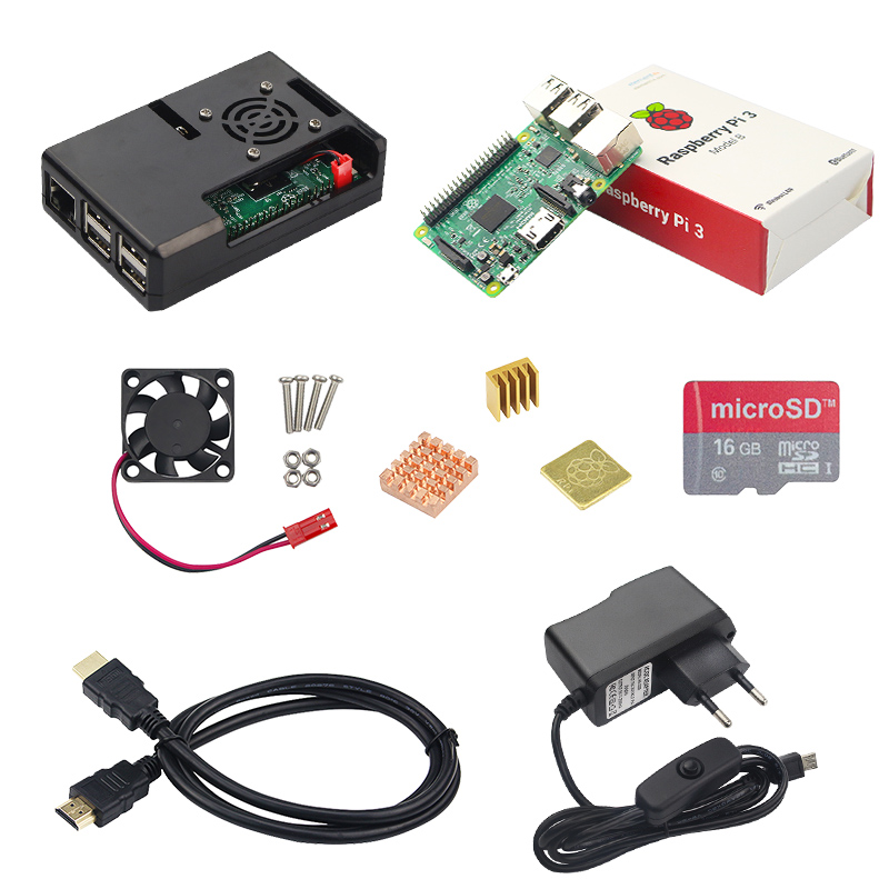 Raspberry Pi 3 Model B Board+16G SD Card + 3 pcs Heat Sink+5V 2.5A Power Adapter with Switch + HDMI Cable +Raspberry Pi 3 Case 10 in 1 raspberry pi 3 abs case 8gb sd card gpio adapter 2pcs heat sink hdmi cable 2 5a power adapter with switch cable for pi 3