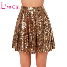 8c1b7e0f1e LIVA GIRL Sexy Gold Sequin Mini Skirt Women 2019 Summer Chic Patchwork  Night Club Wear Pleated
