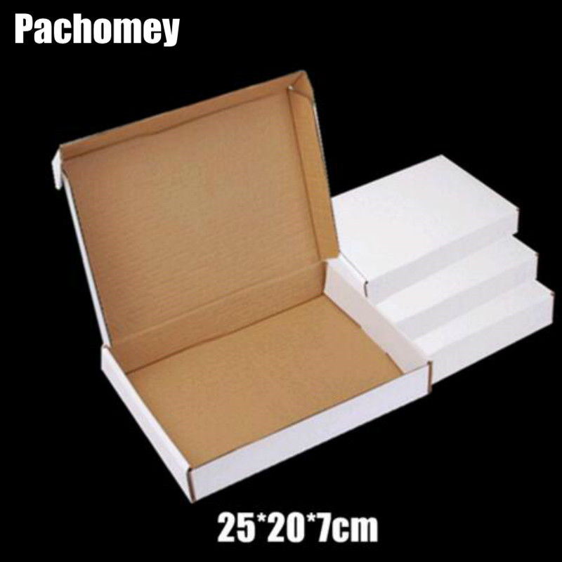 Newly 25*20*7cm Cardboard Paper Package 10pcs/lot Gift White Paper Boxes Business Delivery Mailing Box PP780
