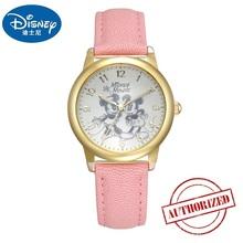 Disney marka oryginalne MK-11038 Myszka Mickey skórzany zegarek kwarcowy zegarki dla dzieci chłopcy studenci moda zegary wodoodporna tanie tanio QUARTZ 3Bar Klamra Proste Stop Papier Odporny na wstrząsy Odporne na wodę Skóra 31mm Hardlex 11038 MK-11038 MK11038 22cm