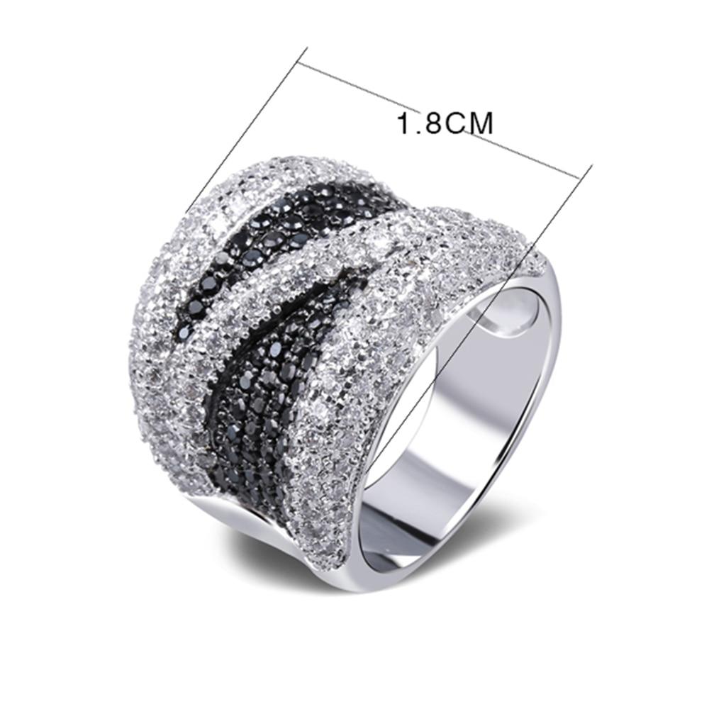 2019 Unazë e gjerë e kubike e zezë dhe e bardhë kub e - Bizhuteri të modës - Foto 6