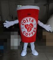 Costume della mascotte per adulti della mascotte della coppa del colore rosso tazza di caffè