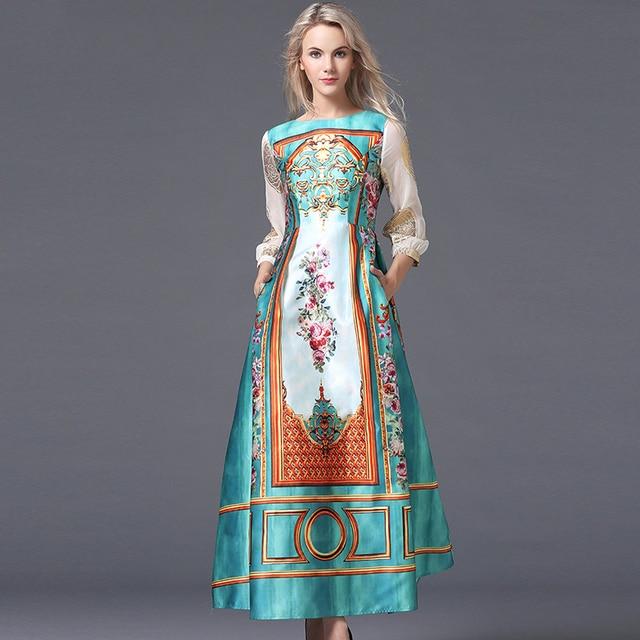 Luxus Lange Kleider 2017 Herbst Europa Mode Neue Russische Stil ...
