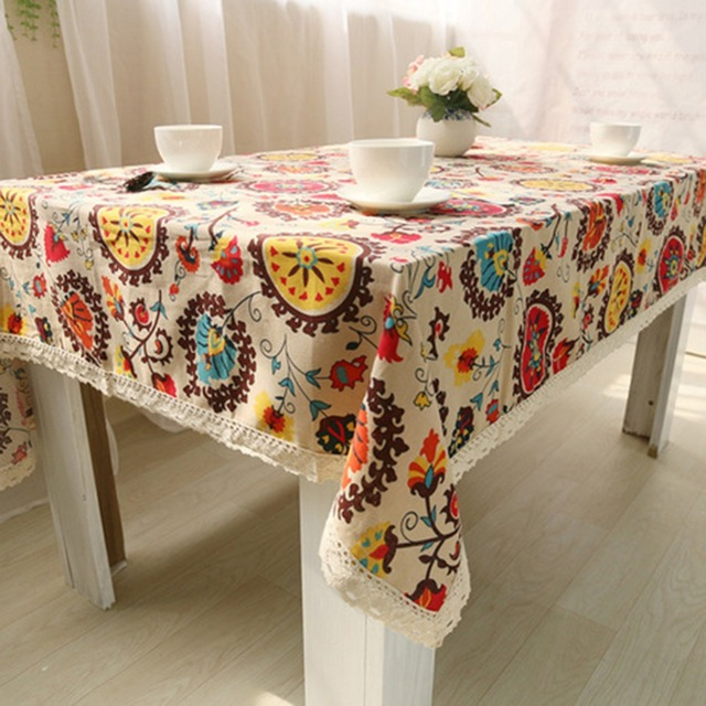 Rectangle Lace Edge National Style Tablecloth Linen Embroidered Rectangle  Washable Dinner Picnic Table Cloth Assorted Size