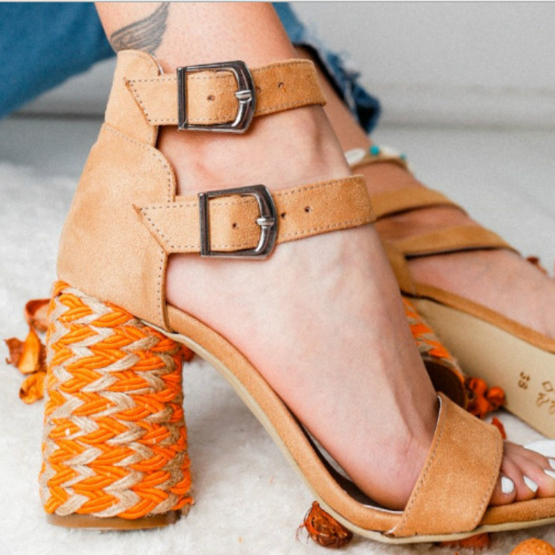 Fujin Summer 2019 Female Colour Matching Individual Ladies Large Sized High Heeled Sandals with Coarse Heeled Shoes Dropshipping in High Heels from Shoes