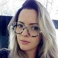 Nuevo 2017 Primera Marca de Lujo Medio Capítulo Anteojos Gafas Claras Las Mujeres Único Ojo de Gato Gafas Enmarca Monturas de Gafas