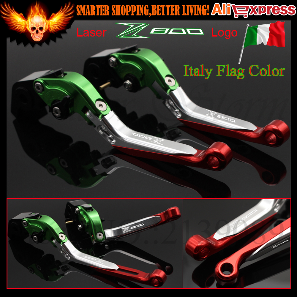 Italy Flag Color Motorcycle Adjustable CNC Aluminum Brakes Clutch Levers Set For Kawasaki Z800/E version 2013 2014 2015 2016 cnc motorcycle motorbike folding handle brake clutch levers for kawasaki z800 z 800 e version 2013 2014 2015 2016 2017