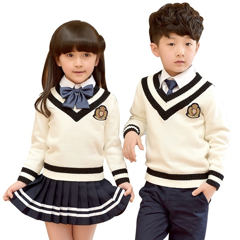 Children Fashion Student School Uniforms Set Suit V-neck Girls Boys Short Cotton Shirt Skirt Shorts Pants Tie Set Uniforms 2-10T