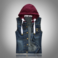 New Men's Spring Autumn Vintage Denim Vest Male fashion Sleeveless cotton top Jackets Hole Jeans 80s Brand Waistcoat big size