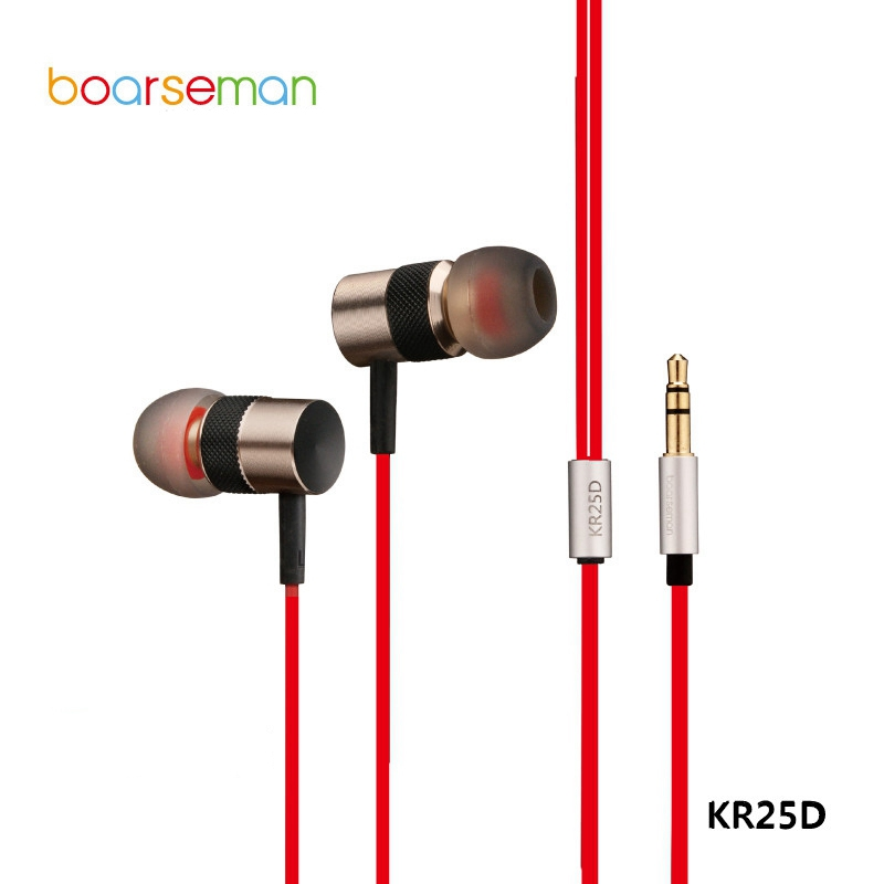 Original Boarseman KR25D In-ear Earphone HIFI Gold Earbuds Noise Cancelling Super Bass Auriculares for iPhone 6s Xiaomi MP3 MP4 радиоприемник 25 hifi 25w