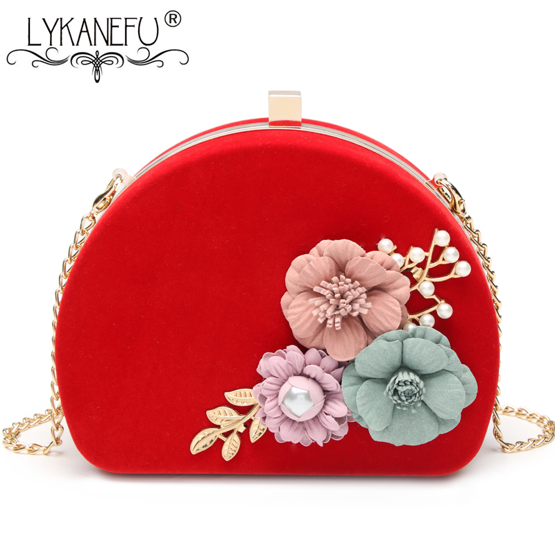 LYKANEFU Vintage Women Evening Bags 3D Flower Frame Day Clutches Chain Shoulder Hand Bags For Party Wedding Purse for Phone