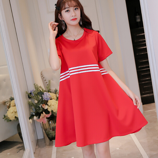 1570b9ac747a Korean Summer dress women clothing bodycon dress cute slim short sleeve  parchwork black red dress fashion Vestidos