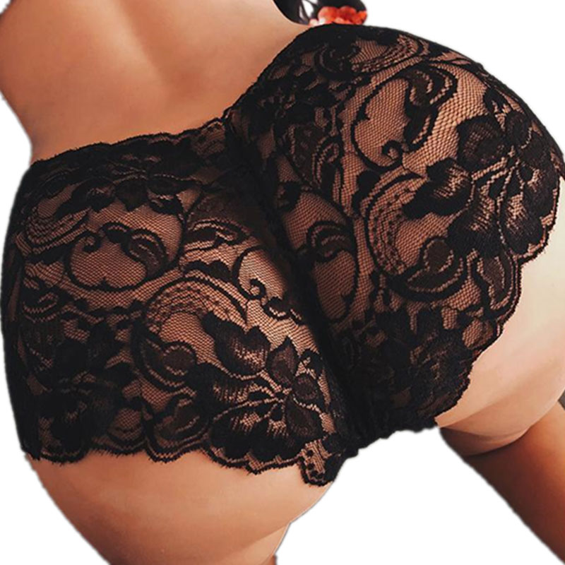 M-5XL female breathable underwear lace lingerie erotic hot g string majtki damskie sissy panties transparent sexy lingerie(China)