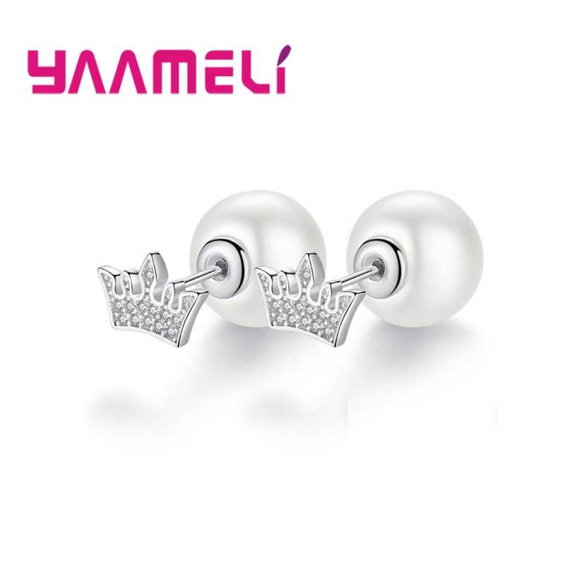 Elegance White Pearl Crown Design Good 925 Sterling Silver Cubic Zirconia Stud Earrings Crystal Jewelry For Women Ladies