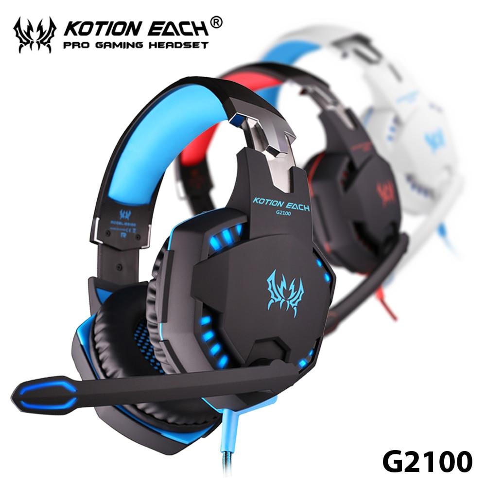 ФОТО TOP!22 +Hot Sale+ Each G2100 3.5mm Pro Gaming Headphone LED Light Earphone With Mic Heavy Bass Head Phone For PCs Laptop Games