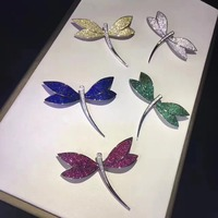 925 sterling silver with cubic zircon dragonfly brooch pins white green blue yellow color fashion women jewelry free shipping