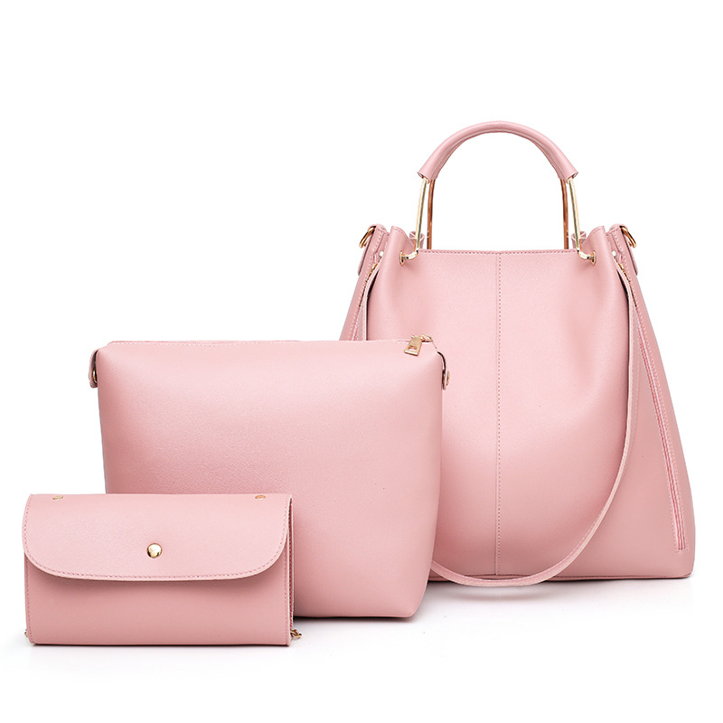 3Pcs/Sets Women Luxury Handbags Leather Shoulder Bags Female Large Capacity Casual Tote Bag Bucket Purses Handbag Bolsa Feminina