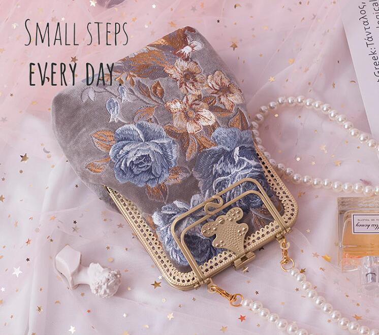 Angelatracy 2019 nouveauté fleur florale broderie Vintage téléphone Style français été fille femmes sac à bandoulière sacs à main Totes