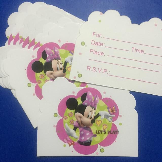 Diweini 20pcs Minne Mickey Inviting Cards Cartoon Cards Birthday