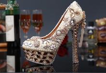 R-free shipping 2016 Occident new sexy wedding shoes women platform pumps girls cowhide genuine leather rhinestone bride heels