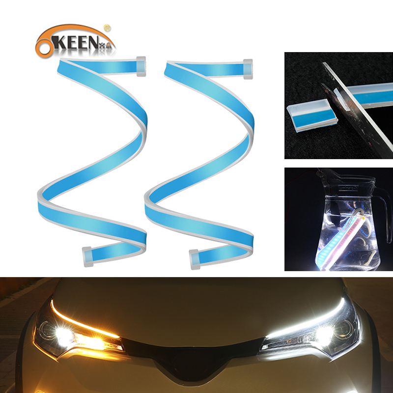OKEEN 30/45/60CM DRL <font><b>led</b></font> Daytime car Running Light with Sequential Flowing Turn Signal Light Flexible drl headlight <font><b>LED</b></font> Strip image