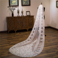 Cathedral Wedding Veil 2018 New Real Images Sequins Lace Edge Generous Bridal Veils