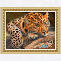 animals leopard full gear 5d diy pictures 0138R - Round Diamond embroidery cross stitch diamond mosaic painting