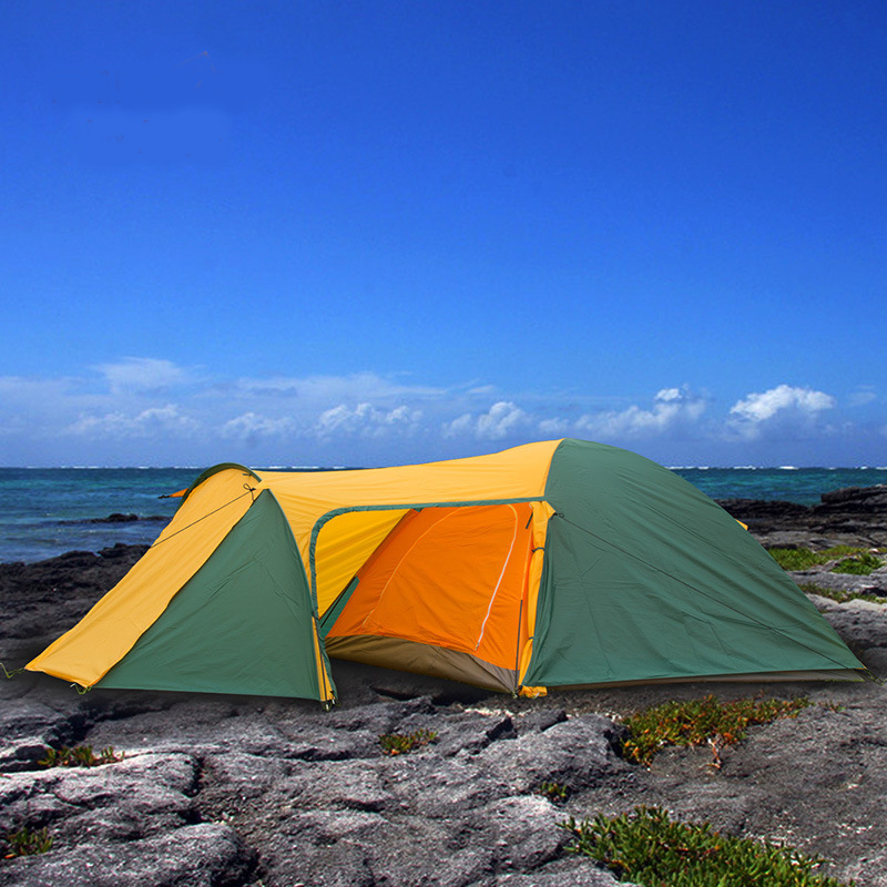 4-5 Person Portable Large Camping 2 Rooms Beach Tent Waterproof Double Layer Four Season Outdoor Hiking Awning Tente ZP91 mobi garden outdoor camping tent 4 seasons double layer aluminum tent two rooms big camping tent super large 3 4 persons tent