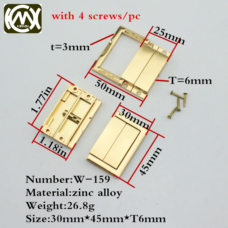 30*45mm 5pcs In Stock Zinc Alloy Nickel Gold Acrylic Handbag Lock Gift Box Hardware Accessories Wooden Bags Hinge W-163