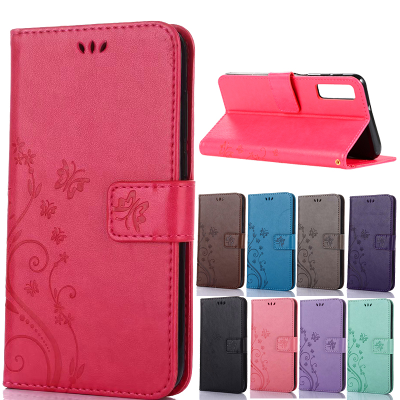Butterfly PU Leather <font><b>Flip</b></font> Wallet Phone <font><b>Case</b></font> Cover For <font><b>Samsung</b></font> A7 2018 A750 A9 2018 A920 J4 Plus J6 S10 A50 A30 <font><b>M10</b></font> M20 M30 Coque image