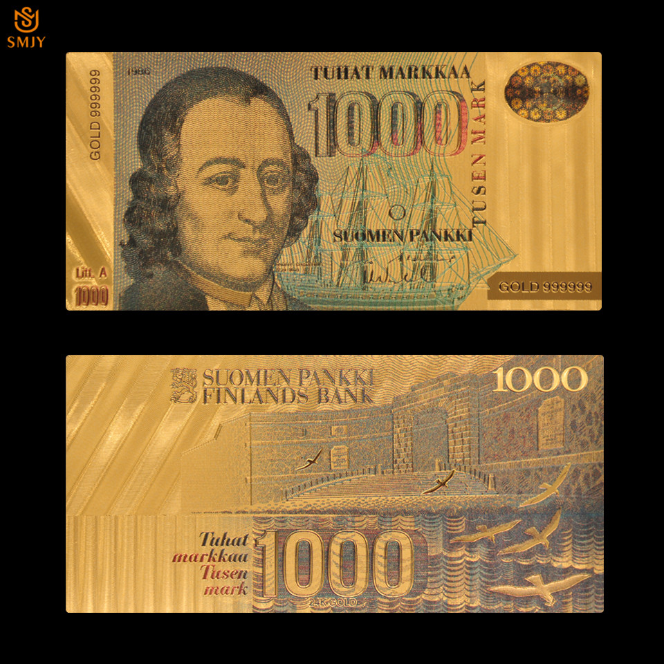 24k Gold Finland <font><b>1000</b></font> <font><b>Euros</b></font> Replica Fake Money Perfect European <font><b>Banknote</b></font> Paper Collection Gift image