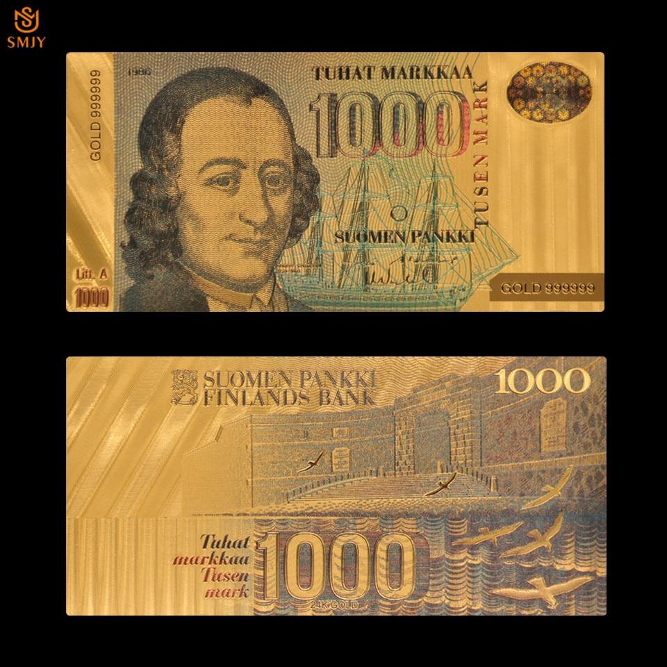 Réplica de dinero falso de 1000 Euros de Finlandia dorado de 24k, regalo de colección de papel de billete europeo perfecto