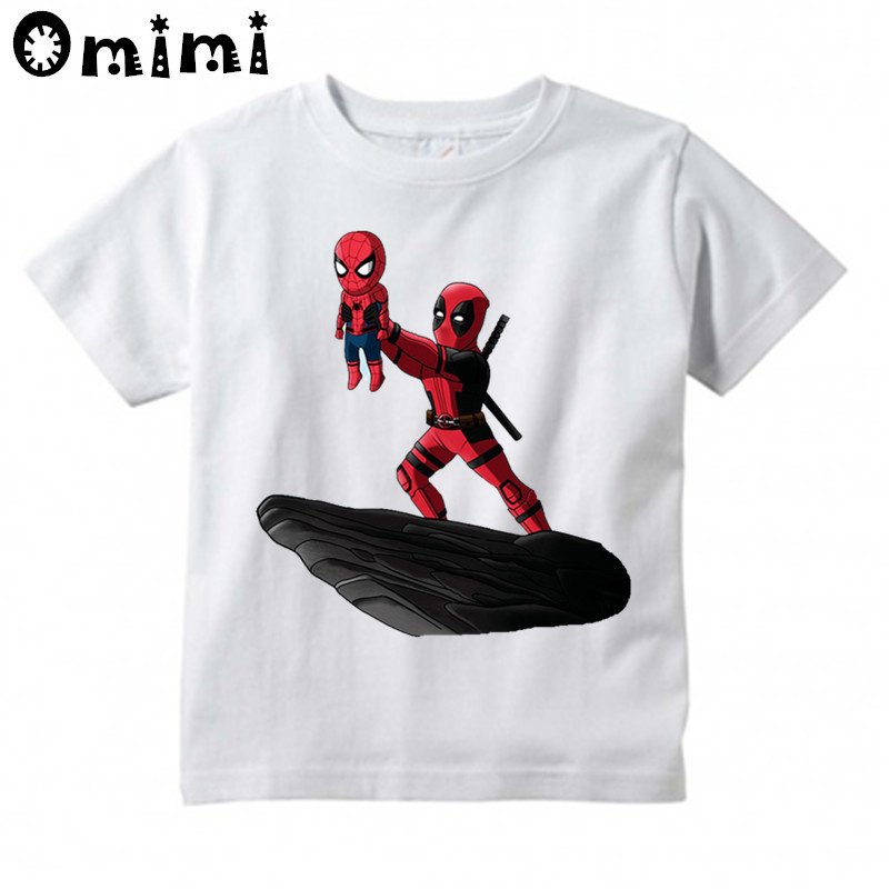 Kids The Spider King And Deadpool/Pikachu Design T Shirt Boys and Girls Great Casual Short Sleeve Tops Children's Funny T-Shirt stx big boys raglan t shirt and athletic short