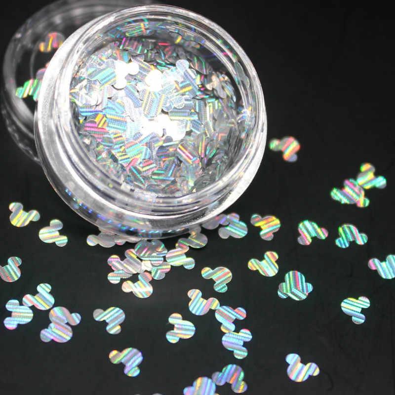Kawaii 1 sztuk Laser Cartoon błyszczące okrągłe ultracienkie cekiny Nail Art Glitter porady żel UV 3D paznokci dekoracja do manicure DIY akcesoria