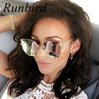RunBird Fashion Women Sunglasses Cat Mirror Glasses Metal Cat Eye Sunglasses Women Brand Designer High Quality