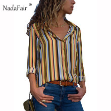 Nadafair long sleeve striped shirts women 2018 autumn loose plus size casual blouse women camisas office wear female tops