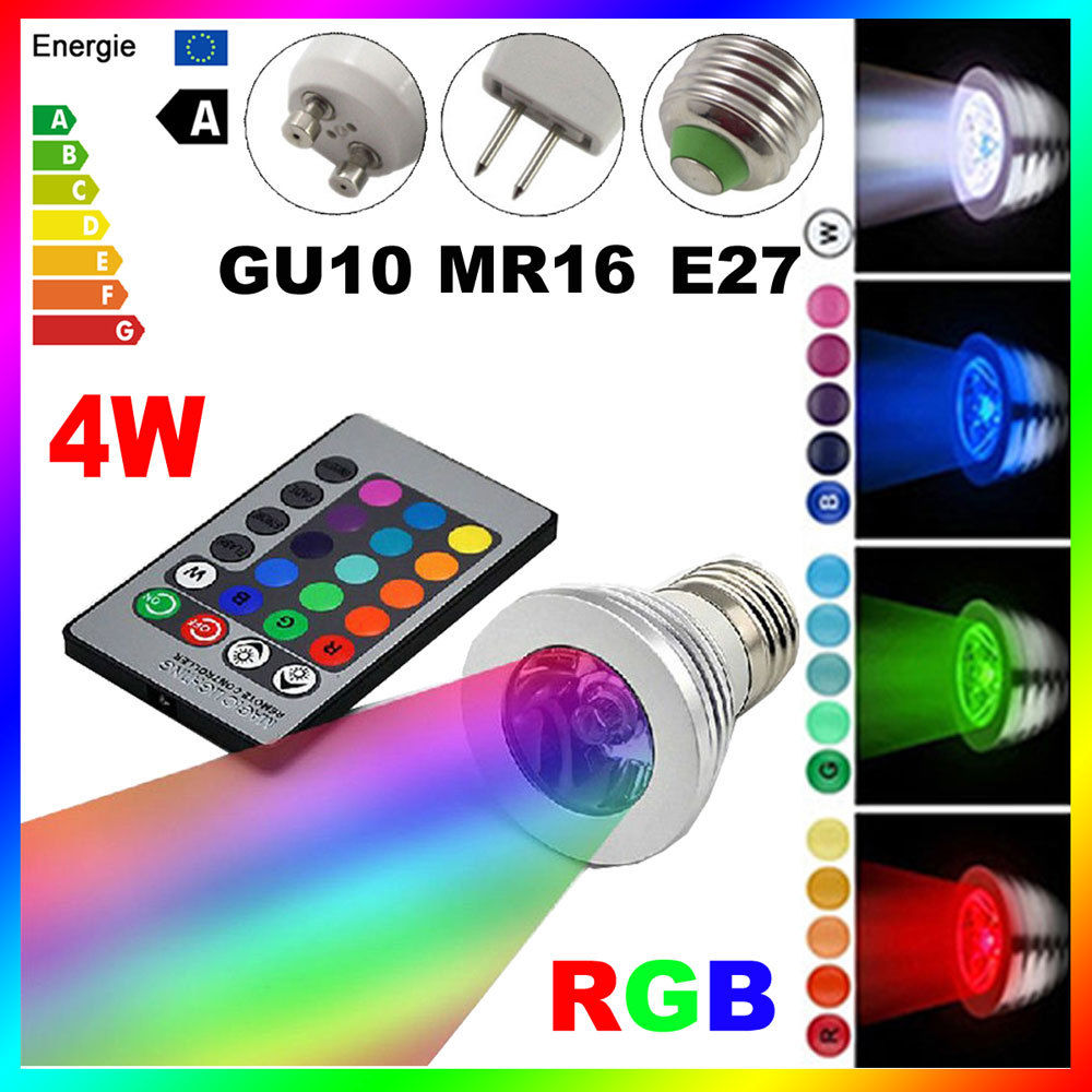 New E27 Gu10 Rgb Led Bulb Light Bombillas 4w 16 Color