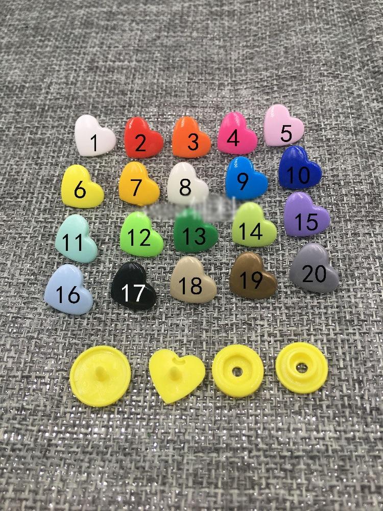 Buttons Diy Cute Colorful Heart Design Girl Children Raincoat Clothing Plastic Snap Button Decorative Accessories 200sets/lot Sale Price